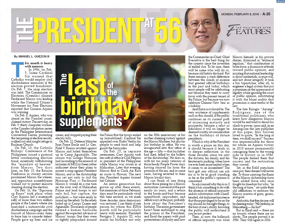 [PhilStar] The last of the birthday supplements by MLQ3